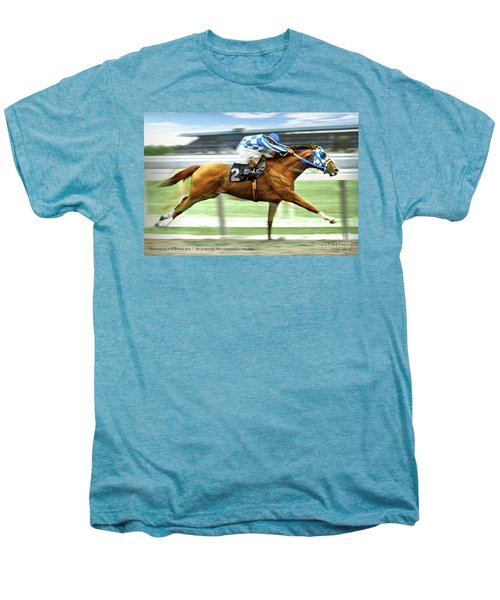 Secretariat On The Back Stretch At The Belmont Stakes Men's Premium T-Shirt