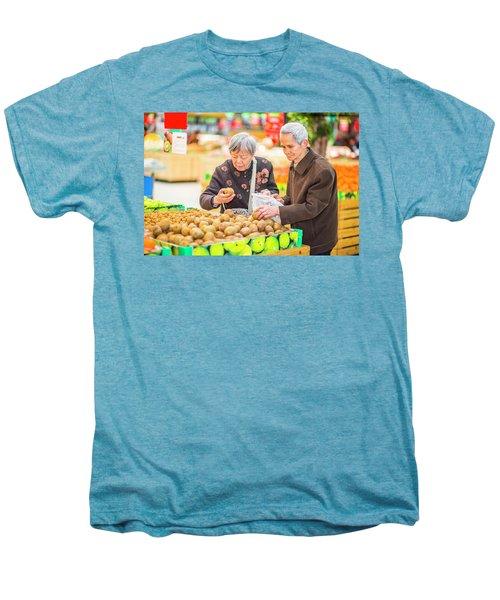 Senior Man And Woman Shopping Fruit Men's Premium T-Shirt