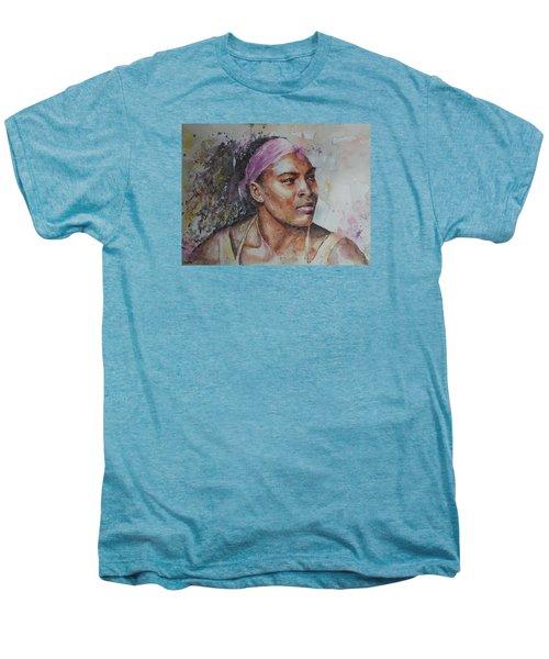 Serena Williams - Portrait 6 Men's Premium T-Shirt by Baresh Kebar - Kibar
