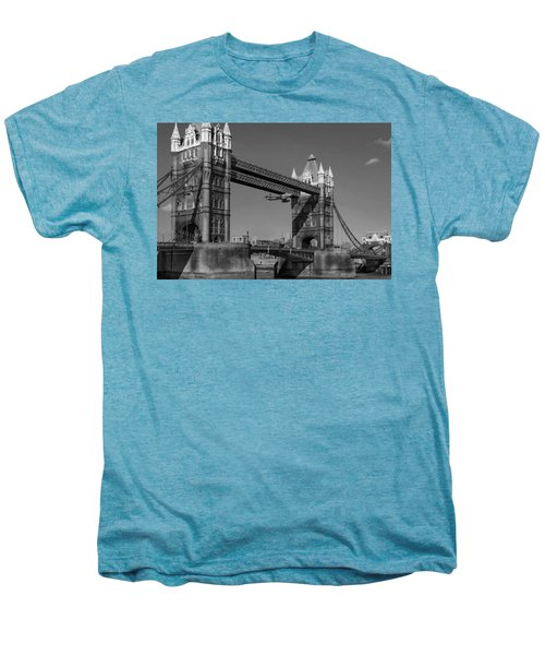 Men's Premium T-Shirt featuring the photograph Seven Seconds - The Tower Bridge Hawker Hunter Incident Bw Versio by Gary Eason
