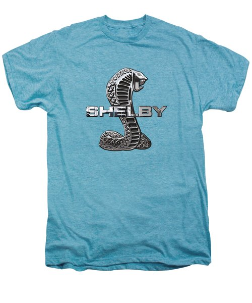 Shelby Cobra - 3d Badge On Blue And White Men's Premium T-Shirt by Serge Averbukh