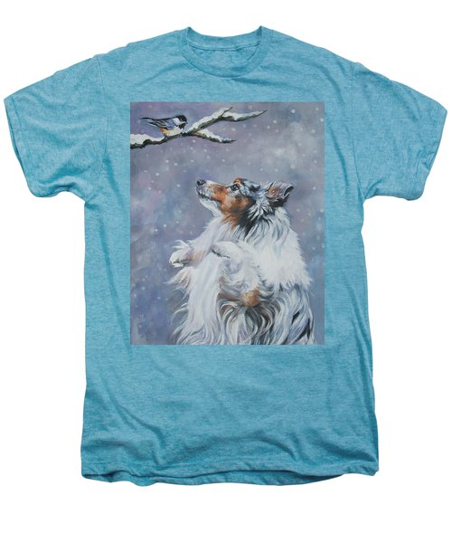 Shetland Sheepdog With Chickadee Men's Premium T-Shirt