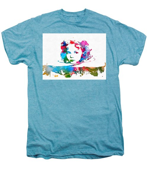 Shirley Temple Watercolor Paint Splatter Men's Premium T-Shirt by Dan Sproul