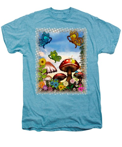 Shroomvilla Summer Fantasy Folk Art Men's Premium T-Shirt by Sharon and Renee Lozen