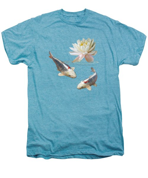 Silver And Red Koi With Water Lily Men's Premium T-Shirt by Gill Billington