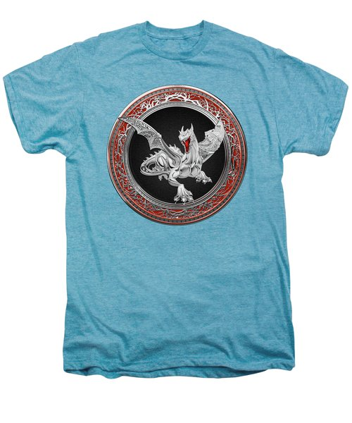Silver Guardian Dragon Over White Leather Men's Premium T-Shirt by Serge Averbukh