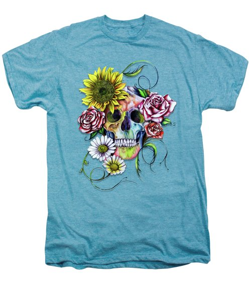 Skull And Flowers Men's Premium T-Shirt by Isabel Salvador
