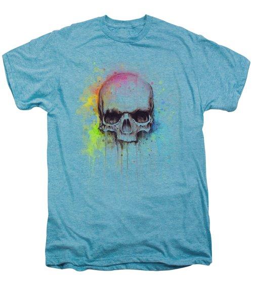 Skull Watercolor Painting Men's Premium T-Shirt by Olga Shvartsur