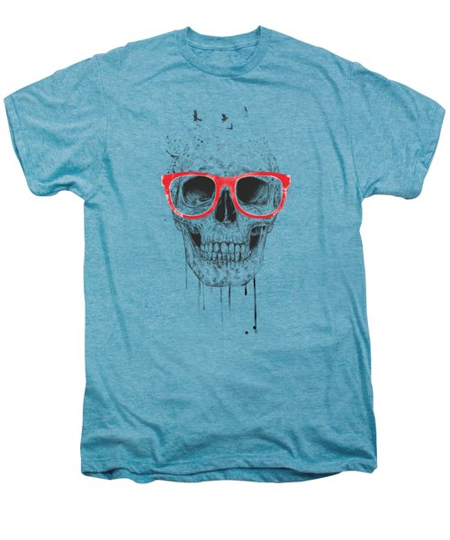 Skull With Red Glasses Men's Premium T-Shirt by Balazs Solti
