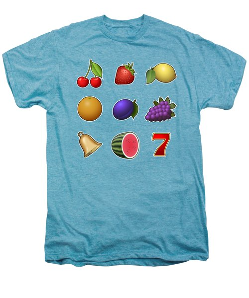 Slot Machine Fruit Symbols Men's Premium T-Shirt by Miroslav Nemecek