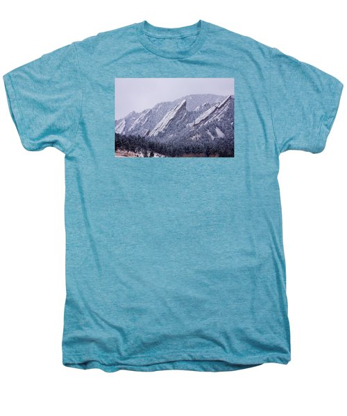 Snow Dusted Flatirons Boulder Colorado Men's Premium T-Shirt