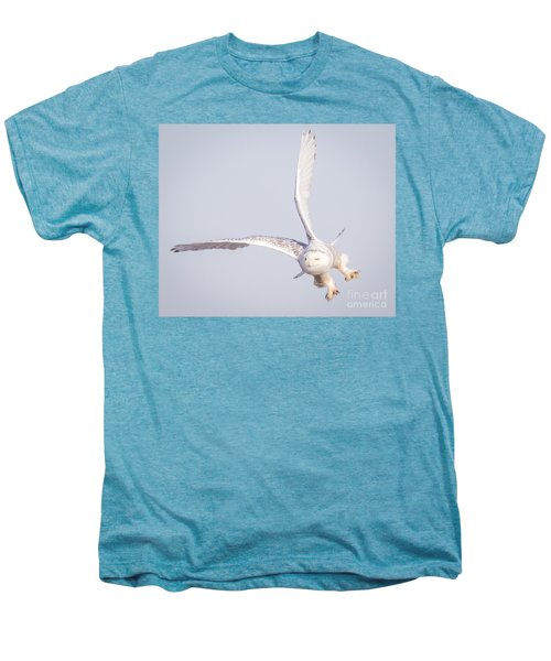 Snowy Owl Flying Dirty Men's Premium T-Shirt by Ricky L Jones