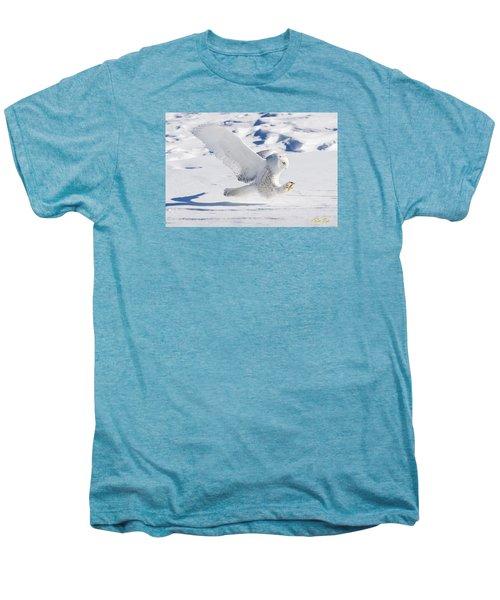 Snowy Owl Pouncing Men's Premium T-Shirt