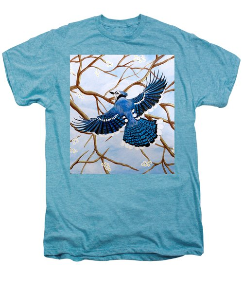 Soaring Blue Jay  Men's Premium T-Shirt by Teresa Wing