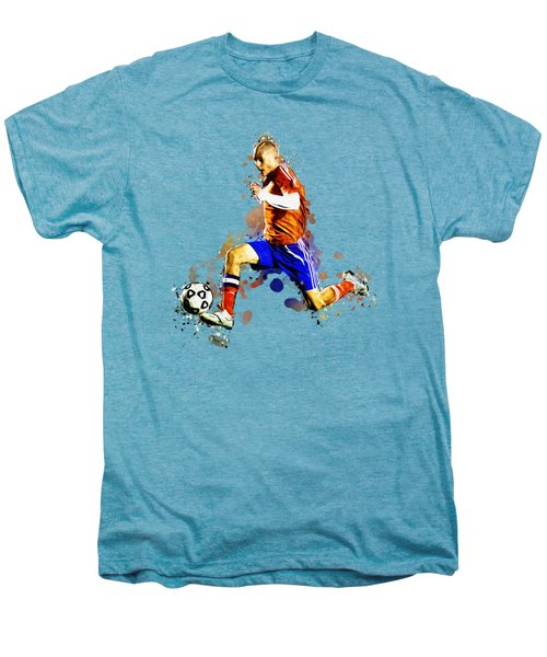 Soccer Player Moving The Ball In Stadium Men's Premium T-Shirt