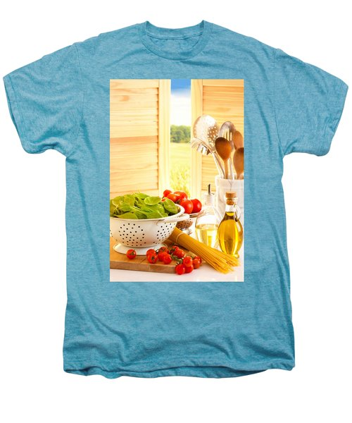 Spaghetti And Tomatoes In Country Kitchen Men's Premium T-Shirt by Amanda Elwell