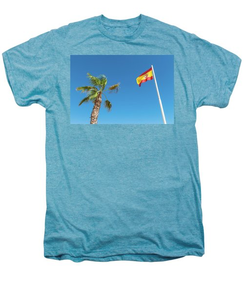 Spanish Flag And Palm Tree In The Blue Sky Men's Premium T-Shirt