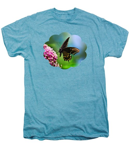 Spicebush Swallowtail Butterfly On Pink Flower Men's Premium T-Shirt by Christina Rollo