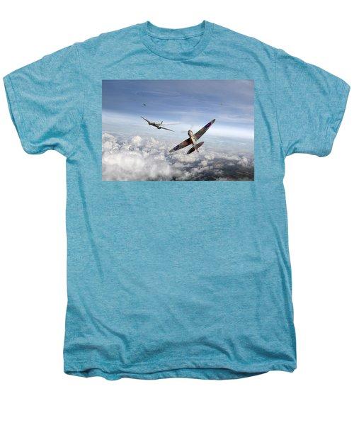 Spitfire Attacking Heinkel Bomber Men's Premium T-Shirt by Gary Eason