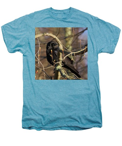 Men's Premium T-Shirt featuring the photograph Springtime Crow Square by Bill Wakeley