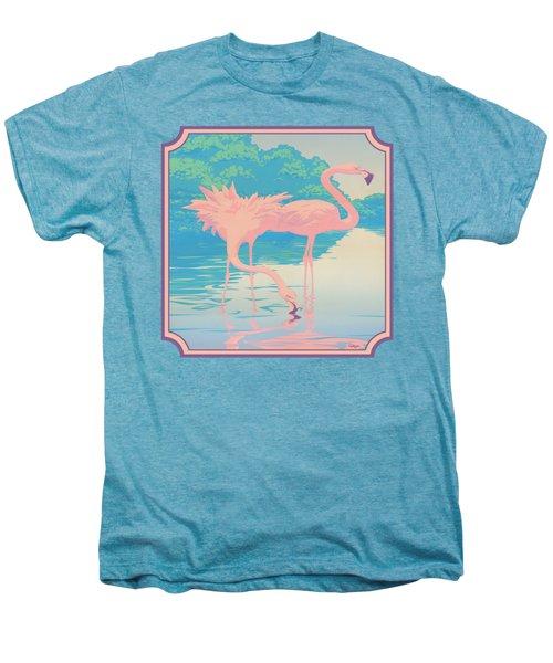 Square Format - Pink Flamingos Retro Pop Art Nouveau Tropical Bird 80s 1980s Florida Painting Print Men's Premium T-Shirt
