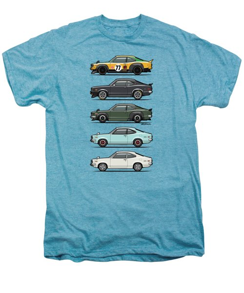 Stack Of Mazda Savanna Gt Rx-3 Coupes Men's Premium T-Shirt by Monkey Crisis On Mars