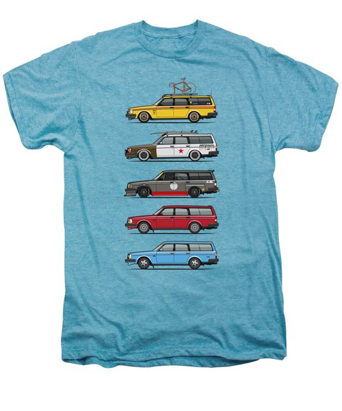 Stack Of Volvo 200 Series 245 Wagons Men's Premium T-Shirt by Monkey Crisis On Mars