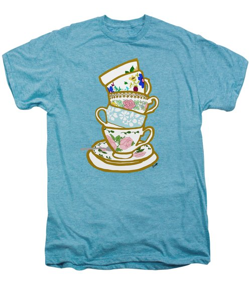 Stacked Teacups Men's Premium T-Shirt by Priscilla Wolfe