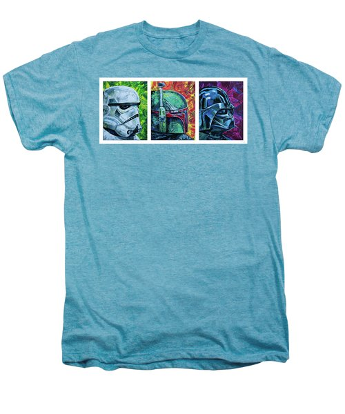 Men's Premium T-Shirt featuring the painting Star Wars Helmet Series - Triptych by Aaron Spong