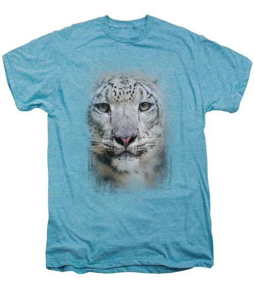 Stare Of The Snow Leopard Men's Premium T-Shirt by Jai Johnson