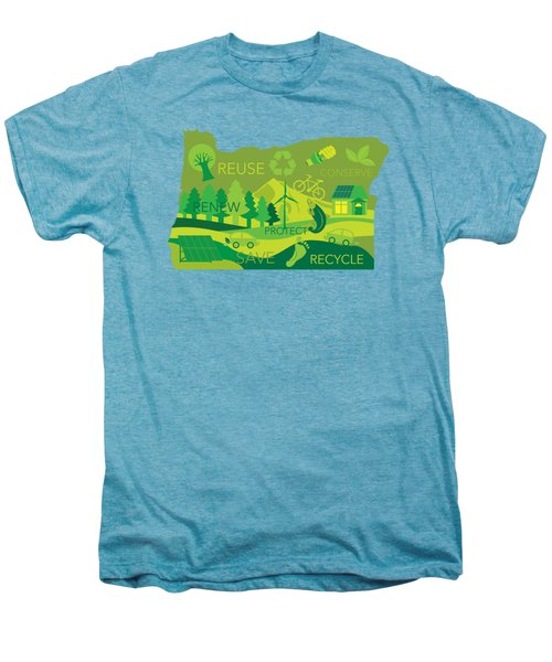 State Of Oregon Map Environment Eco Outline Men's Premium T-Shirt