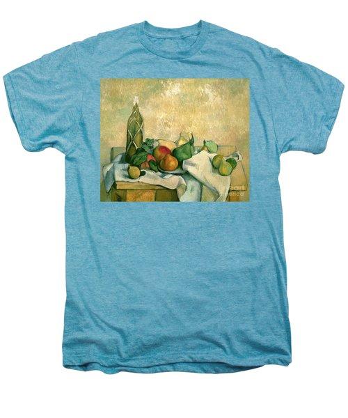 Still Life With Bottle Of Liqueur Men's Premium T-Shirt by Paul Cezanne