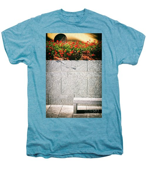 Men's Premium T-Shirt featuring the photograph Stone Bench With Flowers by Silvia Ganora