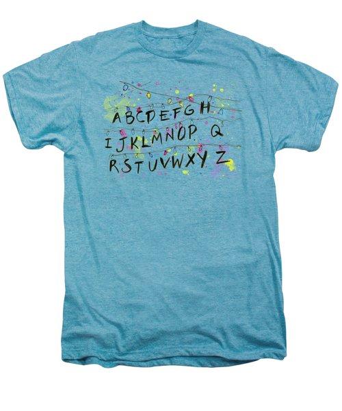 Stranger Things Alphabet Wall Christmas Lights Men's Premium T-Shirt