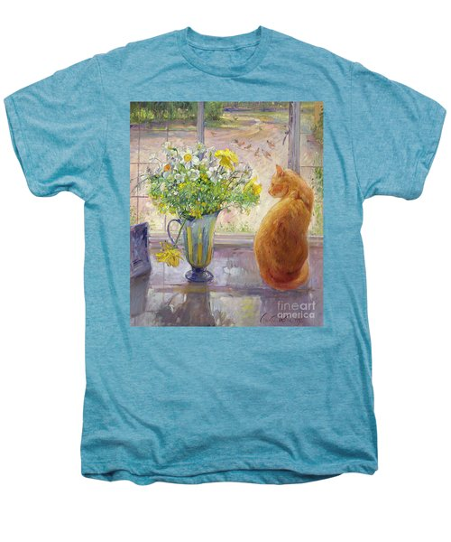 Striped Jug With Spring Flowers Men's Premium T-Shirt by Timothy Easton