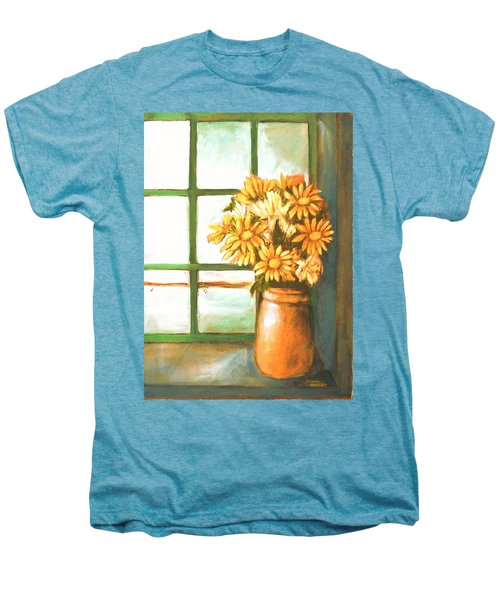 Men's Premium T-Shirt featuring the painting Sunflowers In Window by Winsome Gunning