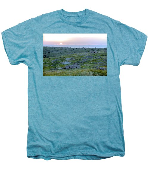 Sunset Over A 2000 Years Old Village Men's Premium T-Shirt by Dubi Roman