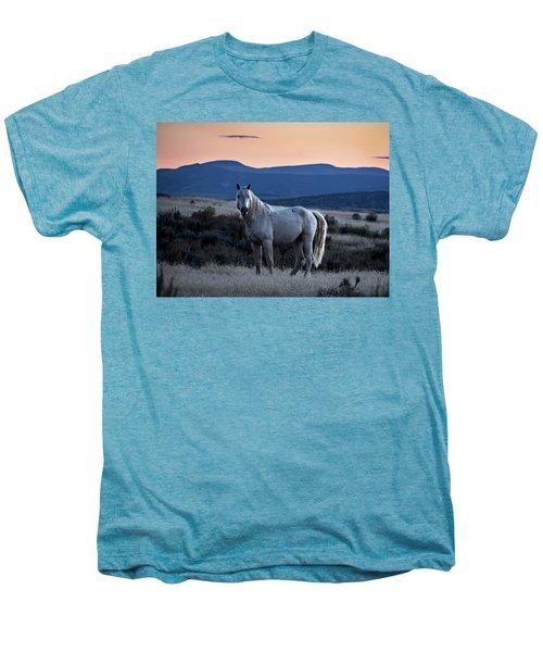 Sunset With Wild Stallion Tripod In Sand Wash Basin Men's Premium T-Shirt