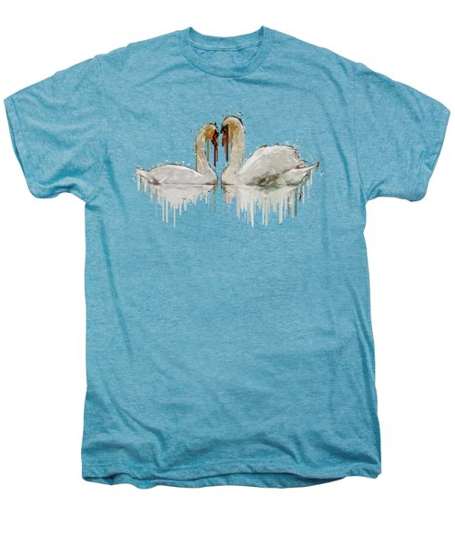 Swan Love Acrylic Painting Men's Premium T-Shirt