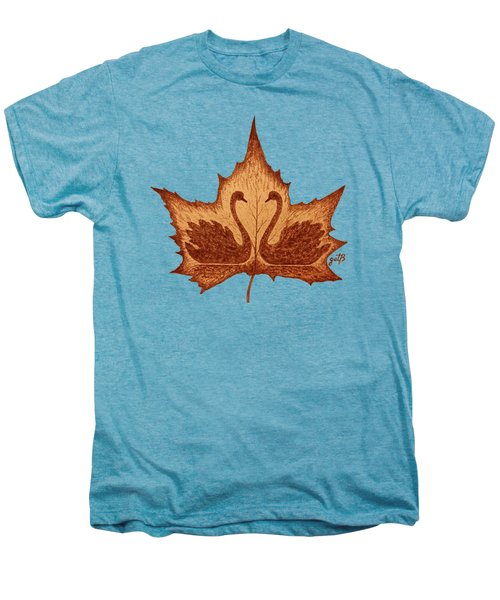 Swans Love On Maple Leaf Original Coffee Painting Men's Premium T-Shirt