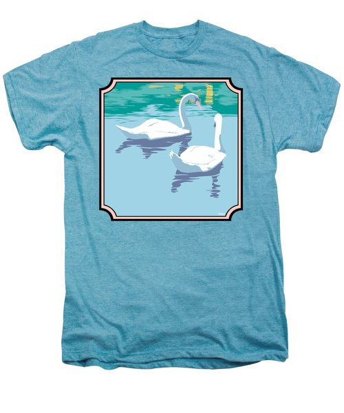 Swans On The Lake And Reflections Absract - Square Format Men's Premium T-Shirt by Walt Curlee