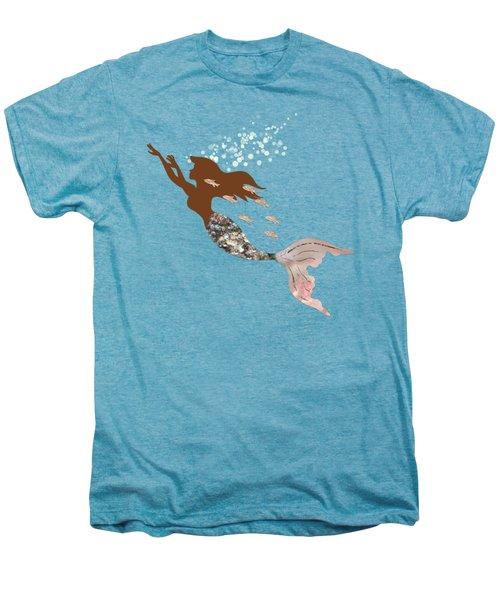Swimming With The Fishes A Brown Mermaid Racing Rose Gold Fish Men's Premium T-Shirt by Tina Lavoie