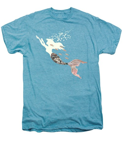 Swimming With The Fishes A White Mermaid Racing Rose Gold Fish Men's Premium T-Shirt by Tina Lavoie