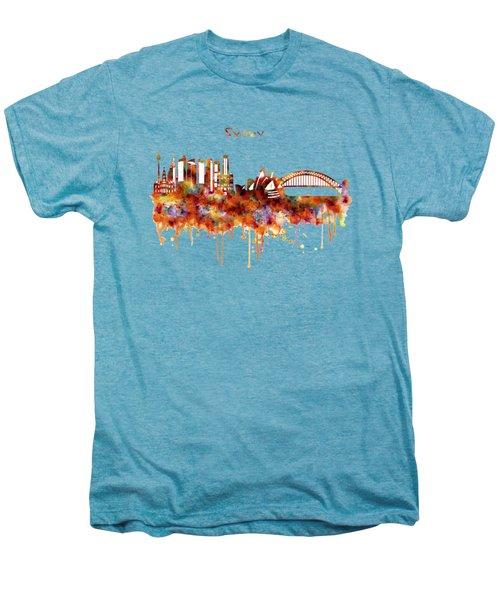 Sydney Watercolor Skyline Men's Premium T-Shirt by Marian Voicu