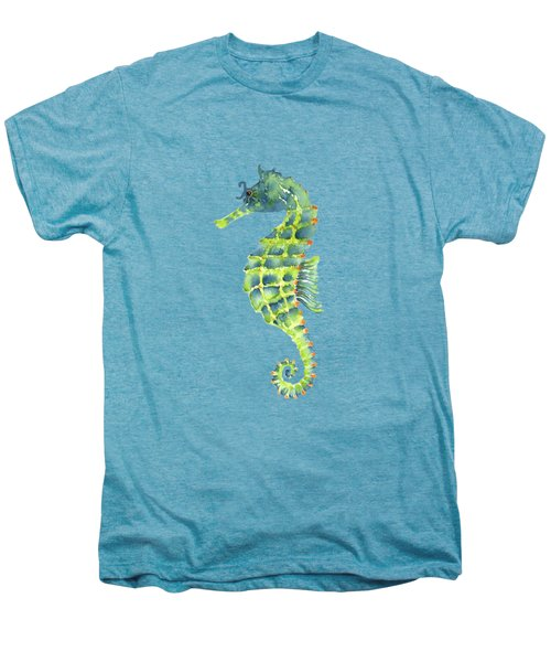 Teal Green Seahorse Men's Premium T-Shirt by Amy Kirkpatrick