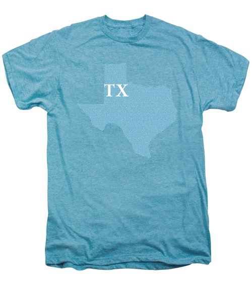 Texas State Map With Text Of Constitution Men's Premium T-Shirt