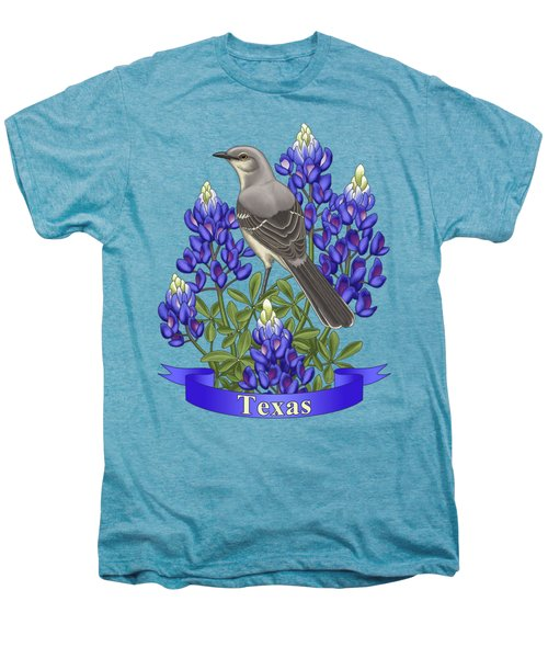 Texas State Mockingbird And Bluebonnet Flower Men's Premium T-Shirt