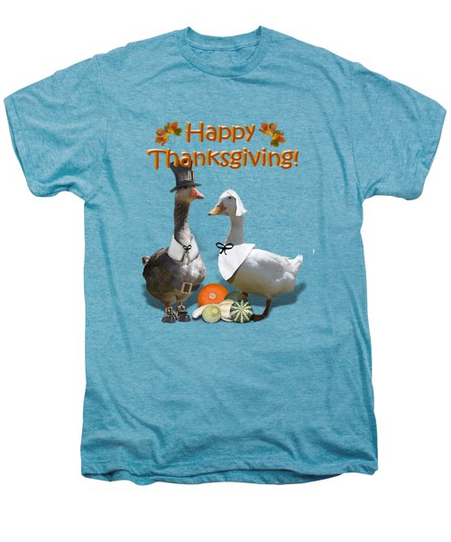 Thanksgiving Pilgrim Ducks Men's Premium T-Shirt by Gravityx9 Designs