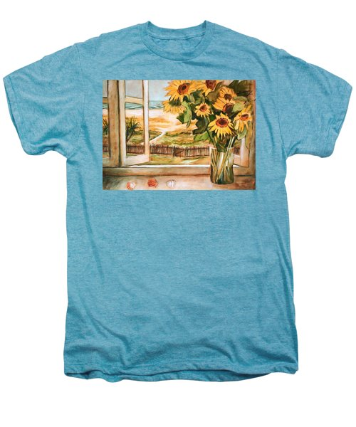 Men's Premium T-Shirt featuring the painting The Beach Sunflowers by Winsome Gunning