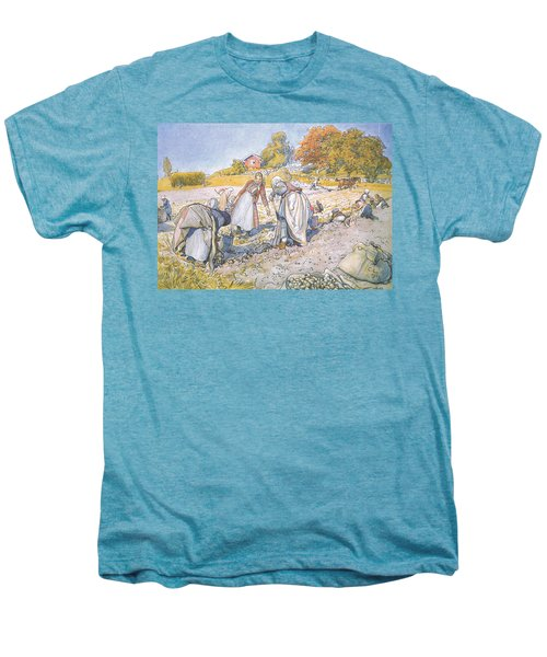 The Children Filled The Buckets And Baskets With Potatoes Men's Premium T-Shirt by Carl Larsson